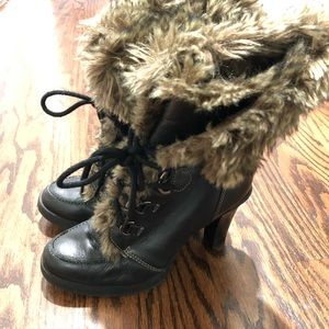 Report Leather with Fur Boots Size 8 1/2